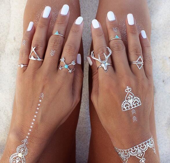 Nueva Vintage Boho Rings Jewelry 7pcs / Pack Metal con plata antigua plateada anillo de multipack Set para mujer anel Antler G76