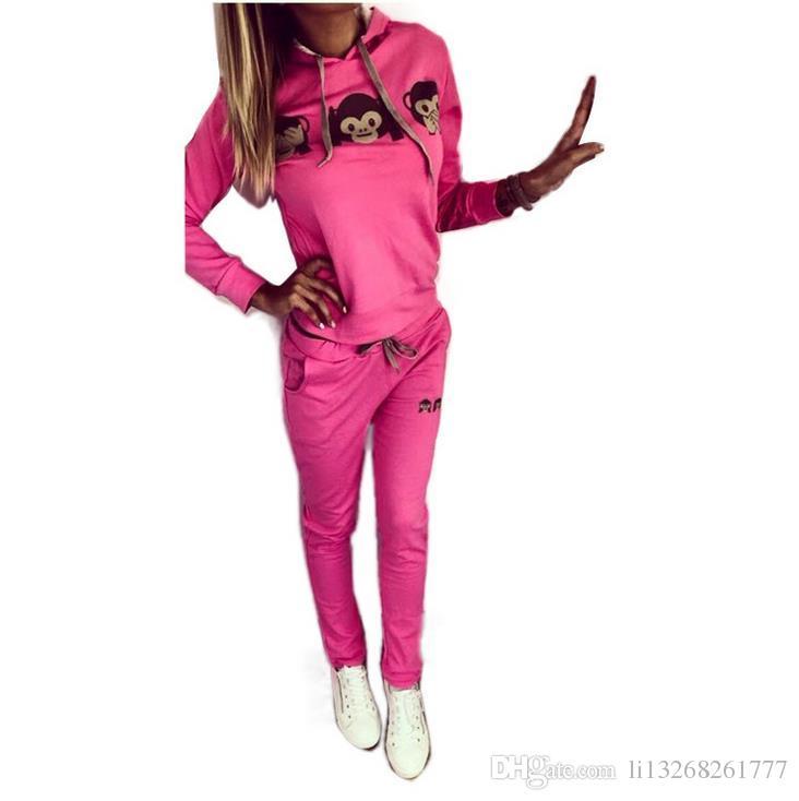 Traje de chándal de mujer Traje de manga larga Traje deportivo Ropa de deporte informal Trajes para mujeres Conjuntos de pantalones de 2 piezas Pantalones largos hasta el tobillo Sudaderas con capucha