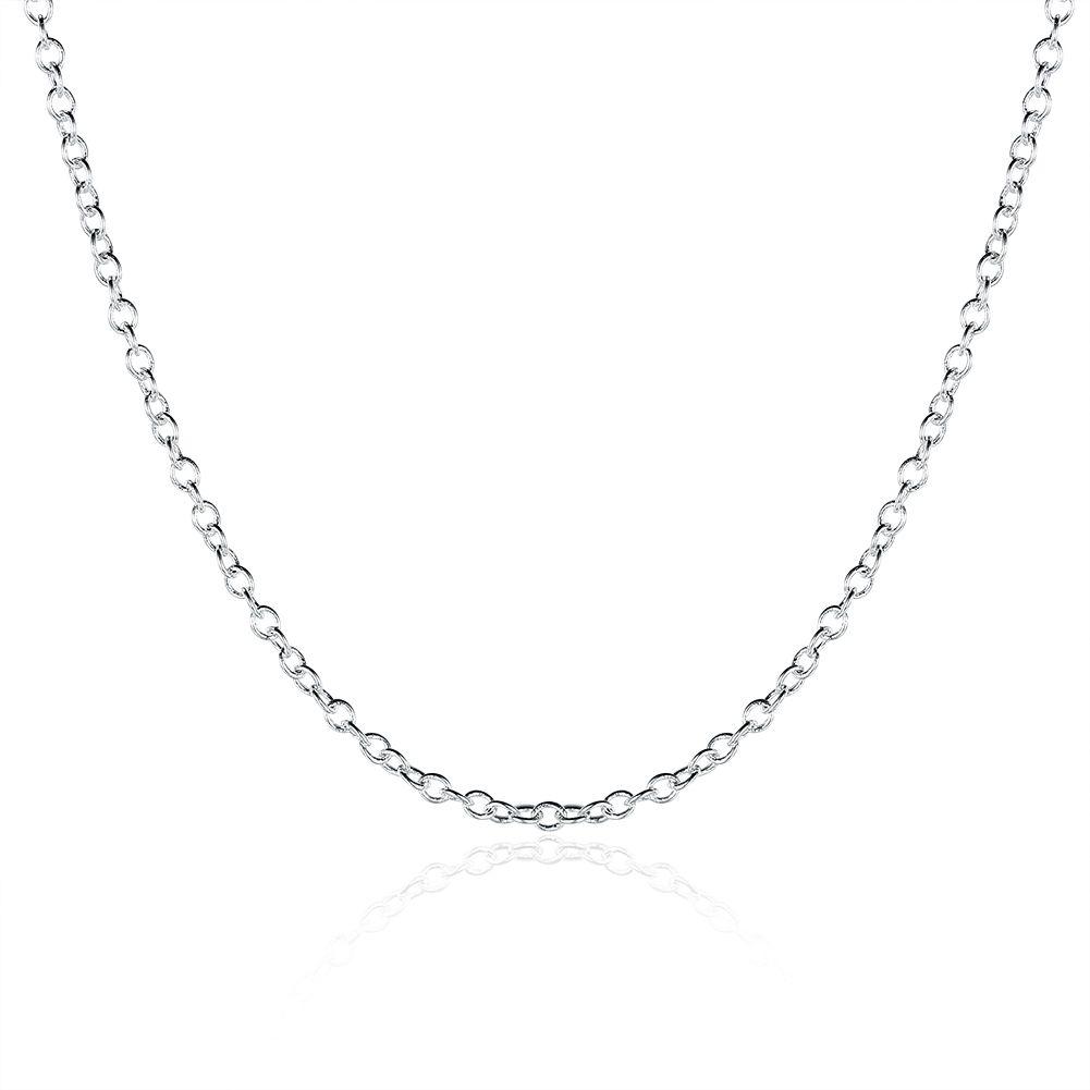 Kadınlar Link Zinciri 1mm 16 18 20 24 inç için Moda Takı Gümüş Zincir 925 kolye Rolo Zinciri