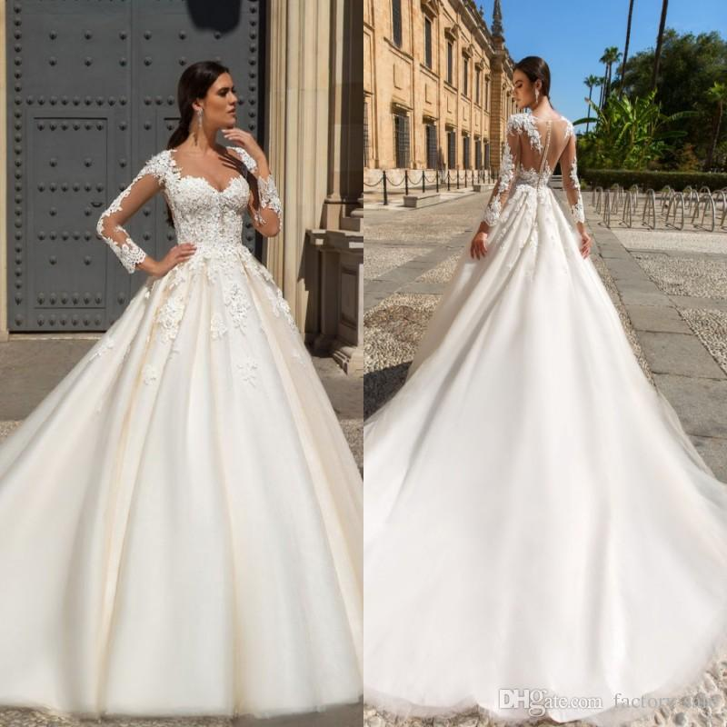Discount Vestidos Long Sleeves Lace Wedding Dresses Sexy Square Neckline Backless Long Bridal Gowns 3d Appliques Romantic Church Bridal Gowns Unique