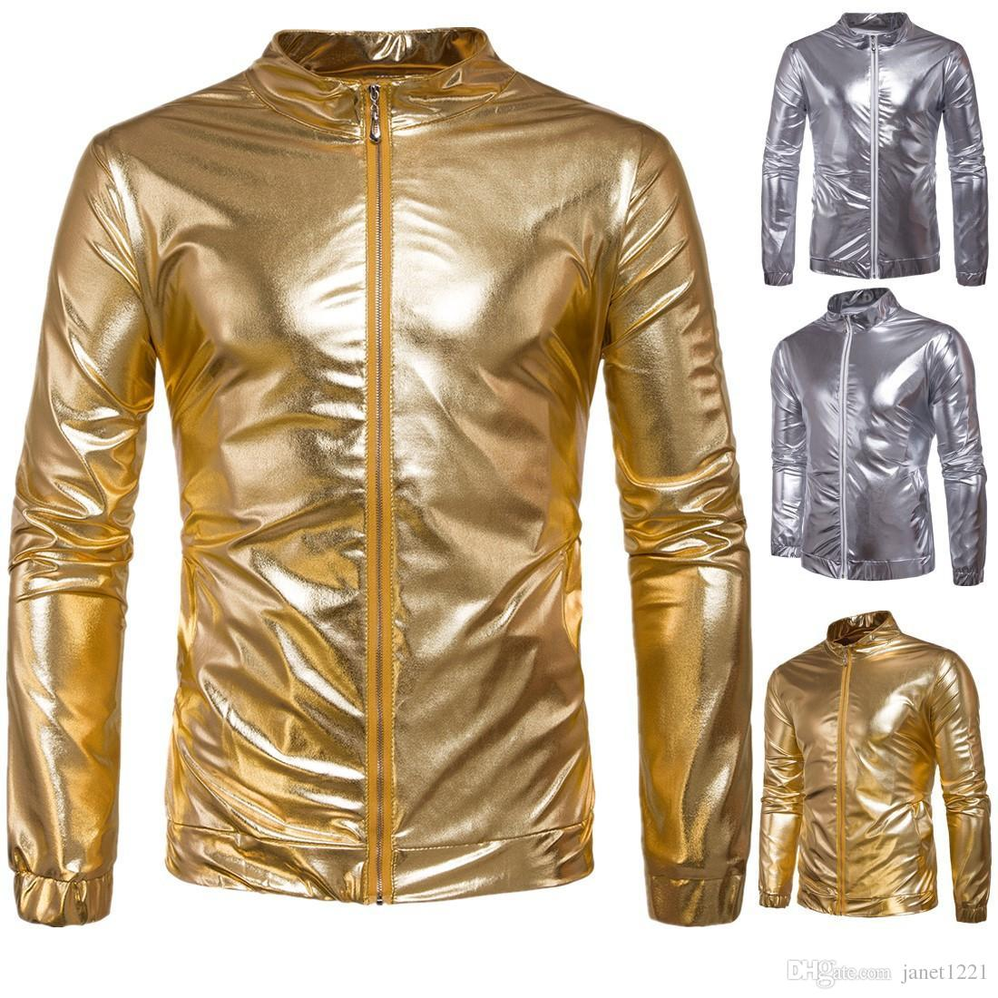 Solid Color Zipper Dance Jackets Harem Women Men Unisex Gold Silver Shiny Jacket Hip Hop Night Club Performance Wear Jacket T170710