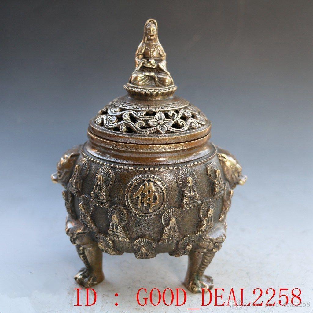 Collezione Folk Art Bronzo cinese Bruciatore di incenso - Kwanyin Lotus w Ming Dynasty XuanDe Mark