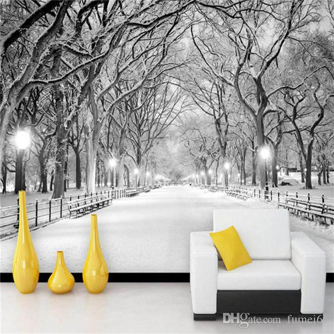 Black And White Snow Landscape Photo Mural Wallpaper 3D Stereo Living Room  Bedroom Backdrop Wall Home Decor Papel De Parede 3D Free 3d Wallpaper Free  ...