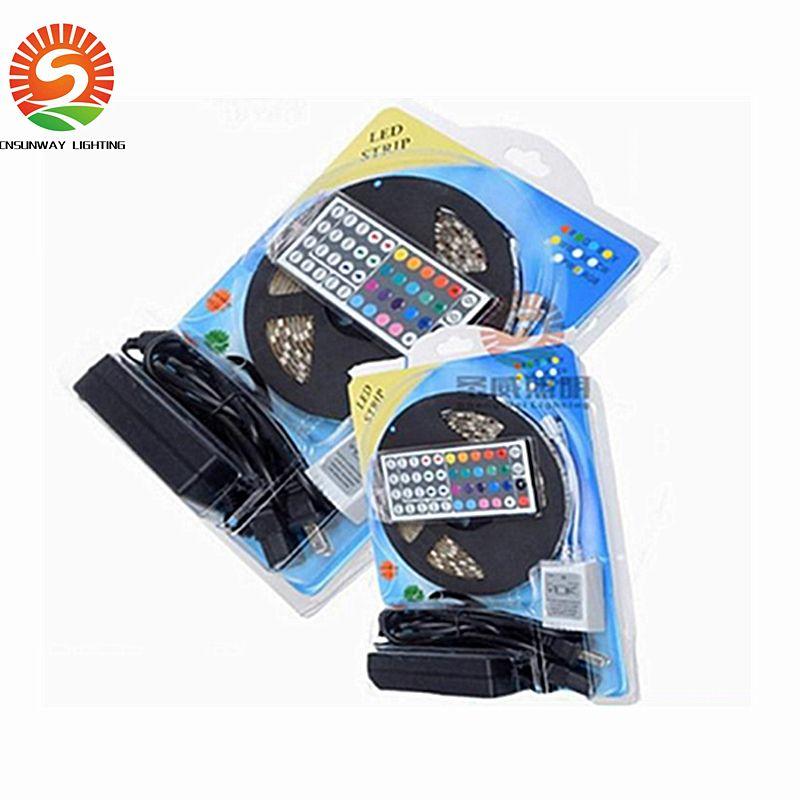 5050 RGB LED Strips Light SMD 300 LED 60LED M Flexible LED light ribbon Waterproof IP65 with 44keys Controller 12V5A power Free Shipping
