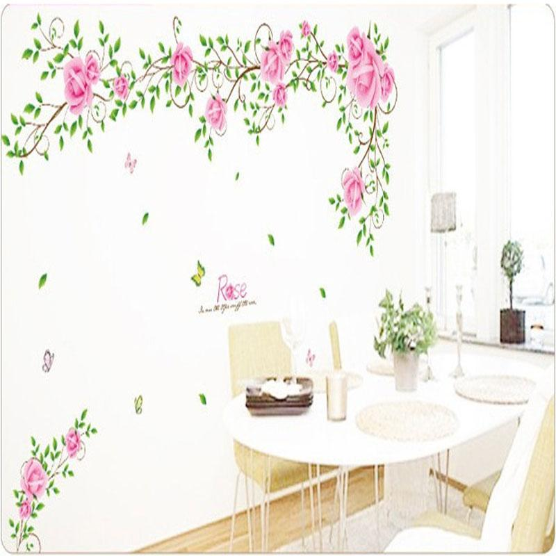 Removable New Style Pink Rose Flower Vine Wall Sticker Home Decoration Vinyl Wall Stickers Decorative Wall