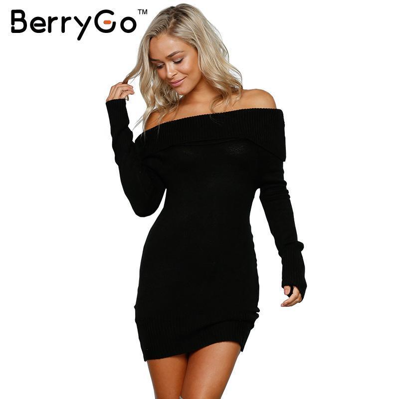Оптовая-BerryGo осень зима с плеча вязаный bodycon платье женщины сексуальный длинным рукавом платье партии 2016 короткие белые платья vestidos