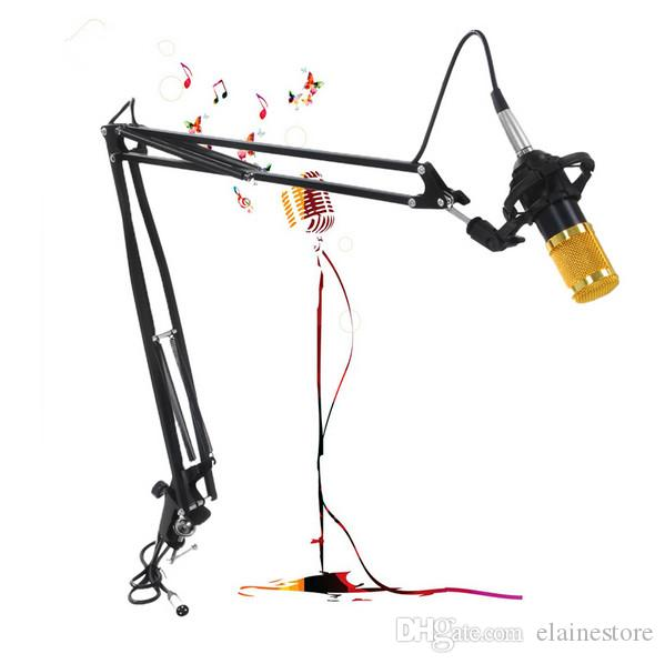 Profissional de Metal Suspensão Scissor Arm Ajustável Microfone Stand Holder Para Montagem Em PC Notebook Laptop