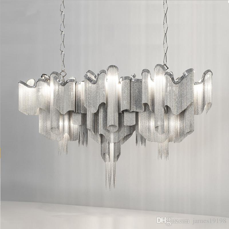 Designer nappa della catena lampadario moderno pendente di alluminio della lampada della luce di soffitto Nuovo per il Living Rool Dinning Room hotel Home Decor PA0020