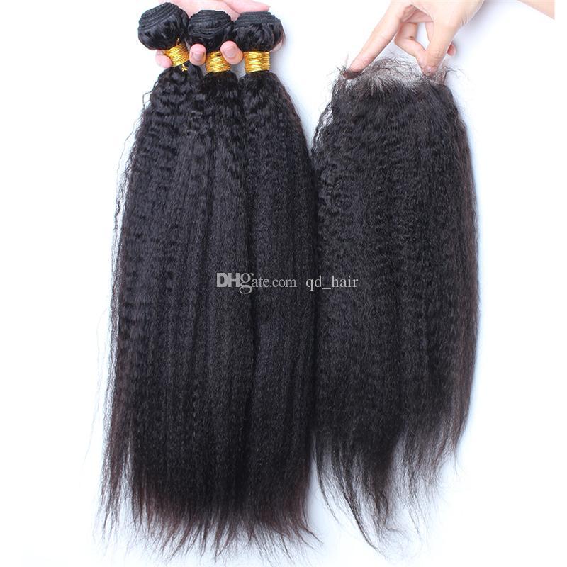 Хорошее качество кудрявый прямые волосы пучки с закрытием кружева 4 шт. / лот итальянский грубый Яки волос ткет с 4x4 кружева закрытия