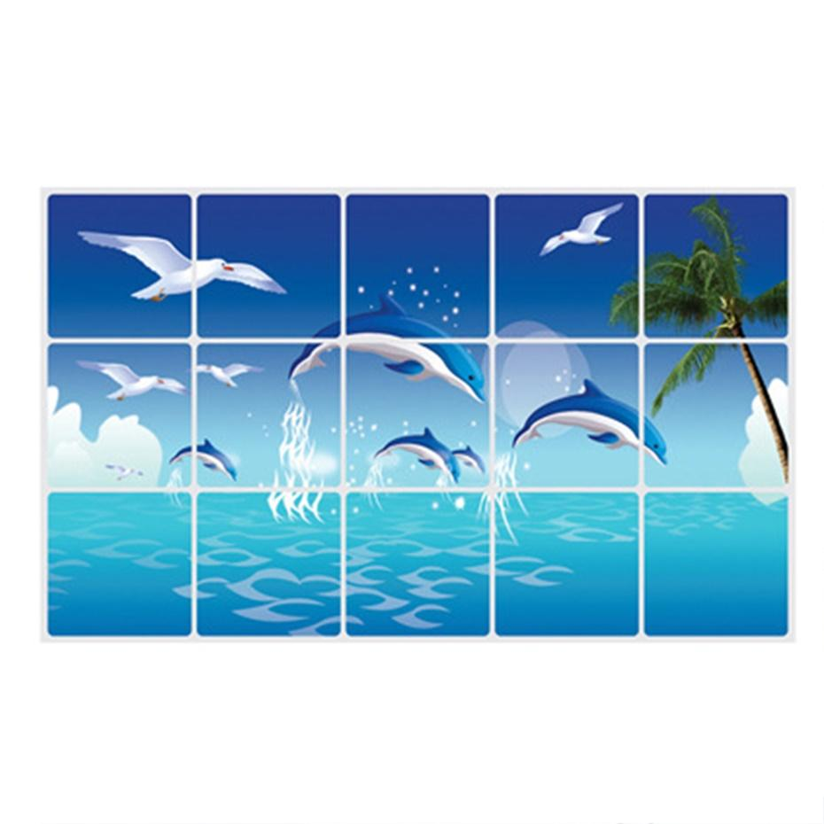 Fish tiles bathroom - 1pc Waterproof Bathroom Kitchen Wall Sticker Tile Aluminum Foil Home Decor Wall Sticker Dolphin Fish Beach Ocean