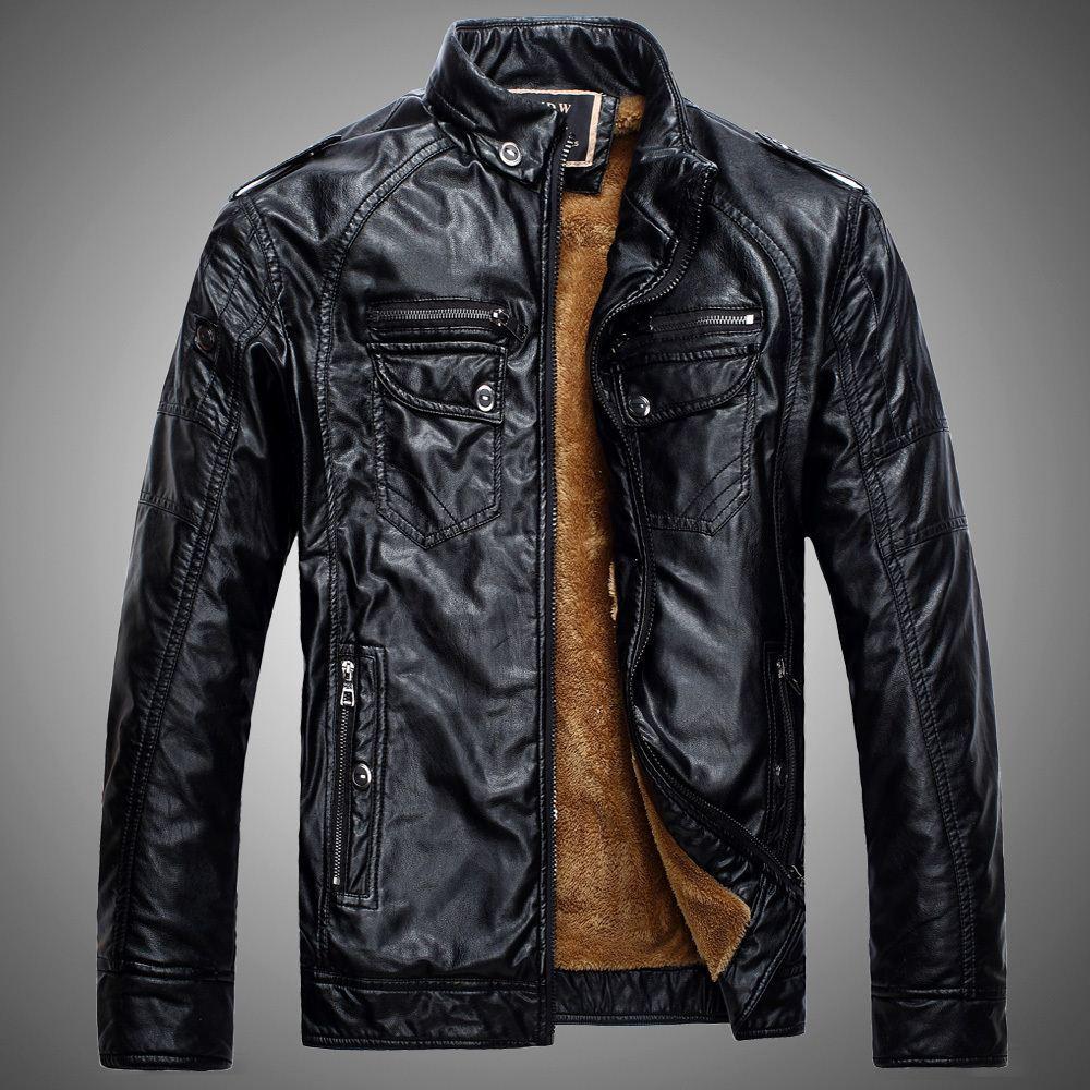 Denim Couleur PU Cuir Veste d'hiver Mens Manteaux Fourrure à l'intérieur de la moto Épaissement épais d'Outwear Highwear High Collier