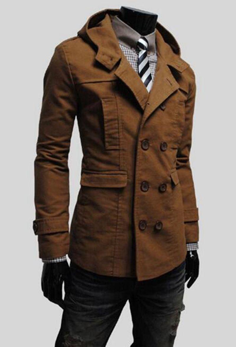 Neue Männer Herbst / Winter-Mode in Europa und kultivieren die Moral Persönlichkeit mit Kapuze reine Farbe Trenchcoat / M-2XL