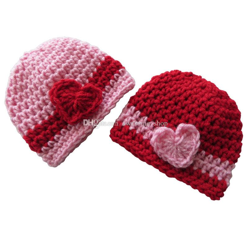Lovely Valentine's Day Beanie Hat,Handmade Knit Crochet Twins Baby Boy Girl Striped Hat with Heart, Newborn Photo Props,Baby Shower Gift