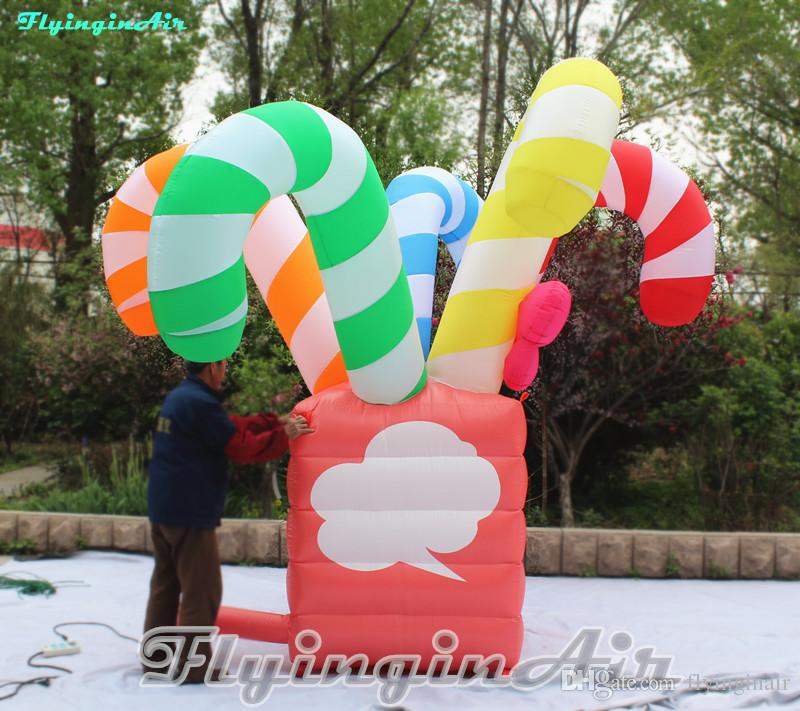 3m/5m Christmas Inflated Candy Box Inflatable Box with Candy Cane