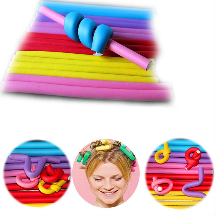 20 Pcs /Set Curler Makers Hair Curling Flexi Rods Soft Foam Bendy Hair Roller Plastic Hair Curlers Spiral Magic Diy Styling
