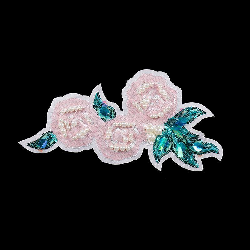 2 pezzi Perle di Perline Rosa Paillettes Pizzo Ricamo Applique Patch Applique Pizzo Vestiti Motivo Decorato Accessorio Da Cucito TH390