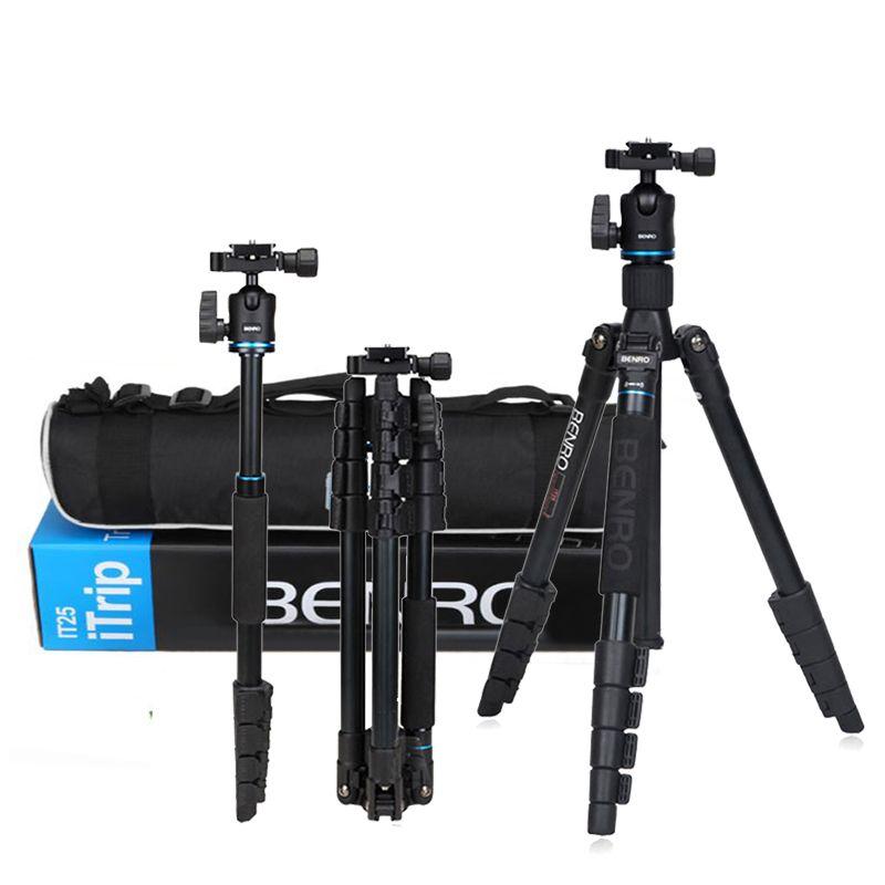 Portable Benro IT25 Aluminum Dslr Camera DV Travel Tripod & Monopod w/ Ball Head + Carrying Bag Loading 6KG