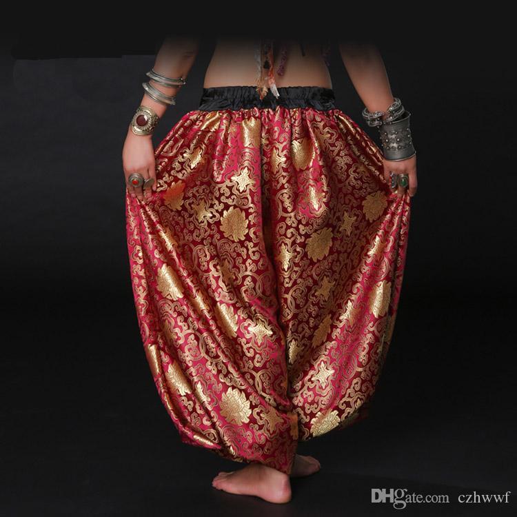 Moderne Rot / Gold American Tribal Style Bauchtänzerin Tribal Kostüm Frauen Pumphose Chic Gypsy Dance ATS Pluderhosen Unisex