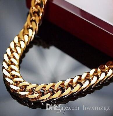 24K Altın Kaplama Ağır Paslanmaz Çelik Kolye Ağır Erkekler Zinciri Masif