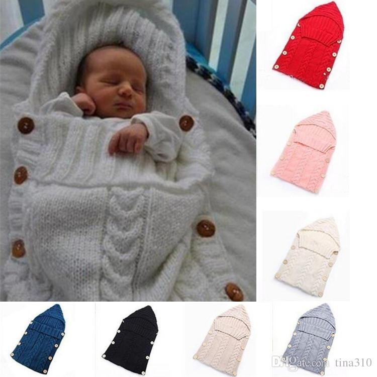 Swaddle Wrap Baby Blanket Newborn Infant Knit Crochet Cotton Sleeping bag UK