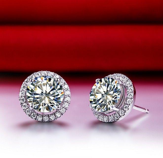 Yeni Tasarım 2 karat / çifti Muhteşem yüksek kaliteli kadınlar SONA sentetik Elmas küpe damızlık parlak kesim Katı Gümüş