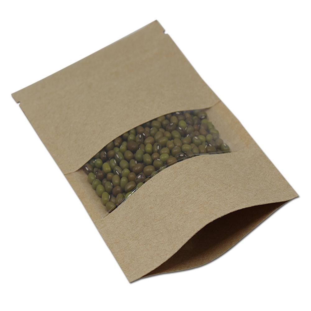 6,3 '' x 8,7 '' (16x22 cm) Stehendes Kraftpapier W / Clear Window-Kunststoff-Packtasche für Lebensmittel Kaffee Muttern Lagerung Reißverschluss Doypack Pouch