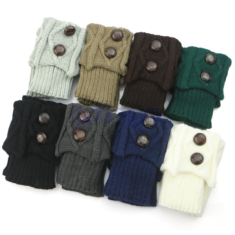 Gros-femmes Hot hiver Crochet Bouton Chaussettes Chaussettes bottes en tricot Toppers Manchettes