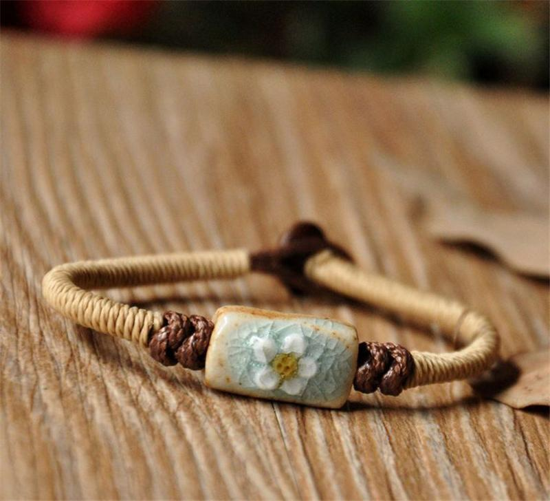 BoYuTe 5Pcs Fashion Bohemia Bracelet Women Flower Carved Ceramic Beads Hand Knitting Rope Chain Bracelet Jewelry Accessories