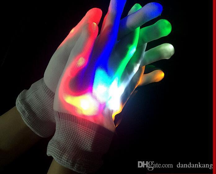 Moda LED luvas de brilho luvas de Natal luvas de flash de Natal do DIODO EMISSOR de LUZES para KTV Bar Dedo Piscando Luvas Partido Rave levou brinquedo dedo