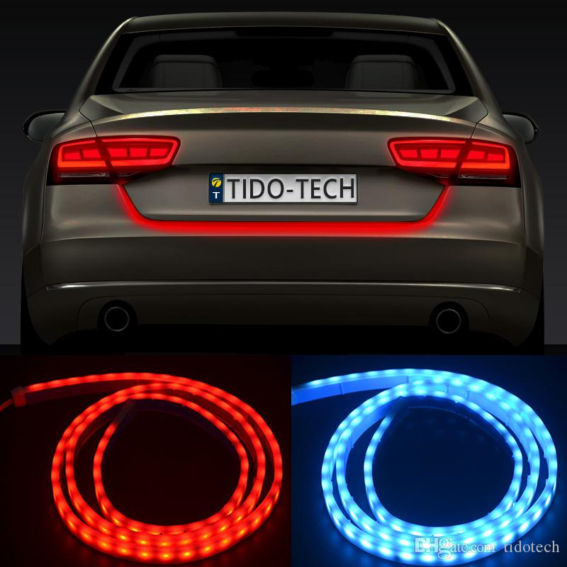 Car Tail Lights >> 2019 Dual Color Chip Led Flow Type Strip Car Tail Brake Light 120cm Drl On Trunk Box With Side Turn Signals Auto Lights From Tidotech 13 07