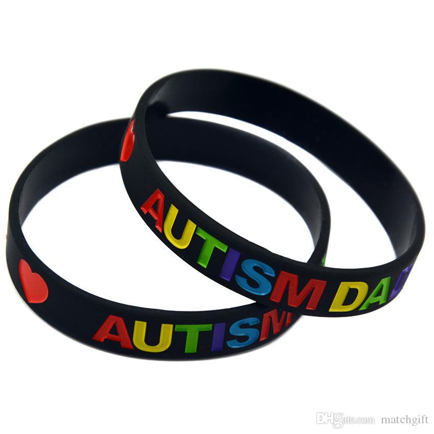 100PCS Black and White Multicolour Logo Love Autism Dad and Mom Silicone Rubber Bracelet for Promotional Gift
