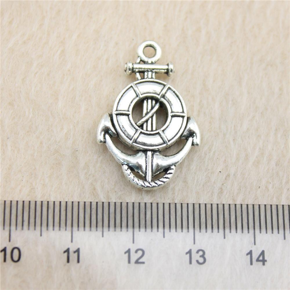 15pcs 26 * 17mm argento antico Tonelife anello e ancoraggio Charms in lega di zinco fai da te fatti a mano ciondoli gioielli all'ingrosso