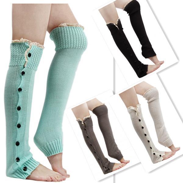 All'ingrosso-Kintting Boot Calzini alla moda delle donne in pizzo piatto polsini Button Down Knit degli scaldini ginocchio calzini caldi KH851958