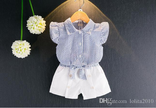 2017 girls 2pcs/set light blue/pink summer suits girls short sleeve striped tops T shirts+girls white shorts kids clothes outfit set
