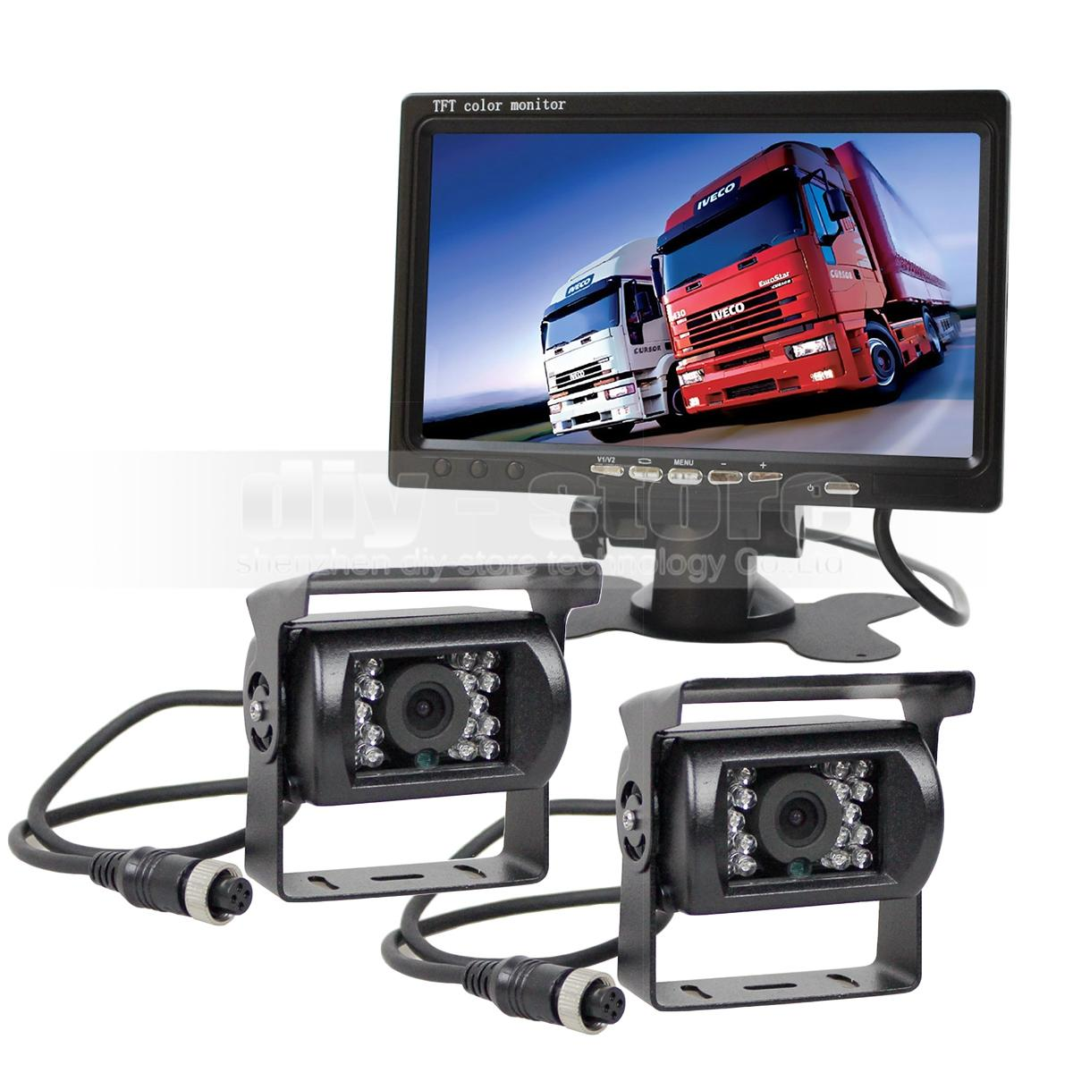 4pin IR Night Vision HD Rear View Camera Kit 7 inch TFT LCD Car Monitor System for Bus Houseboat Truck
