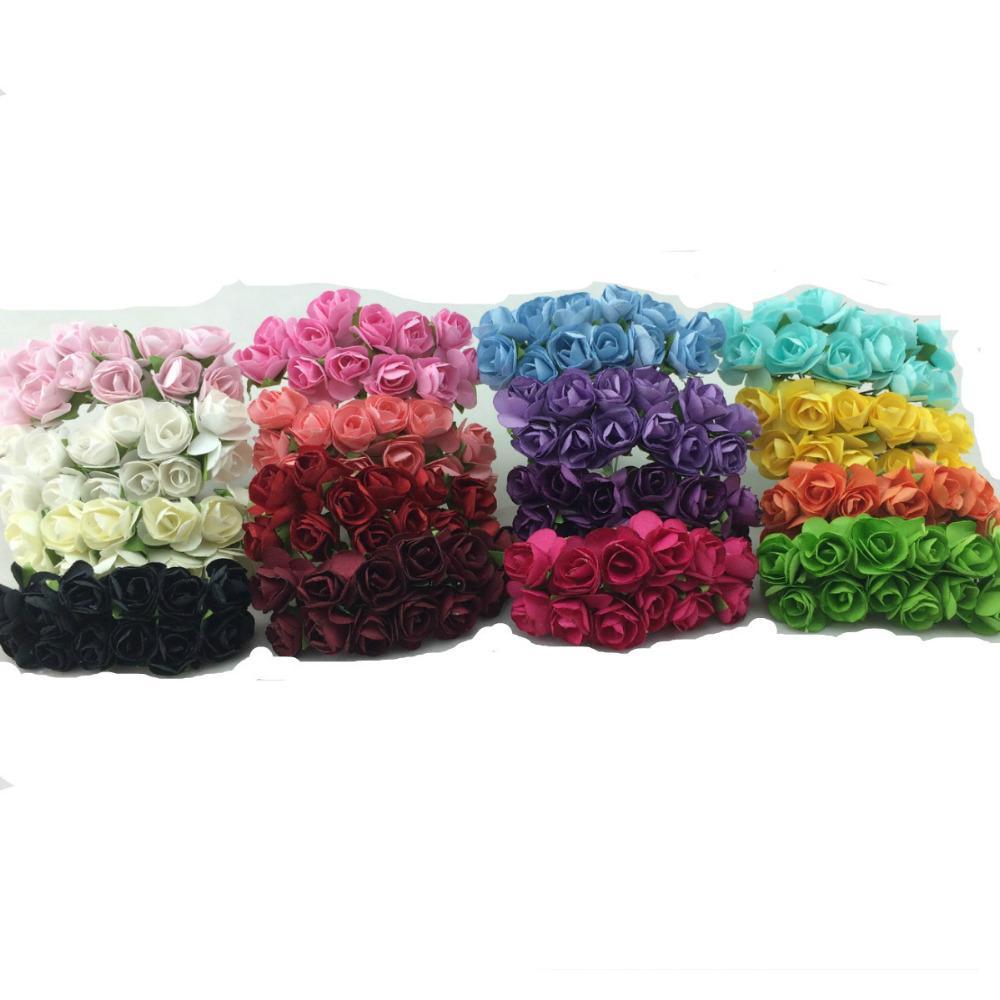 Wholesale-144pcs / lot handgemachter Maulbeerpapierblumen-Blumenstrauß / Drahtstamm / künstliches Minirosenblumen-Hochzeitsfest Dekor Scrapbooking