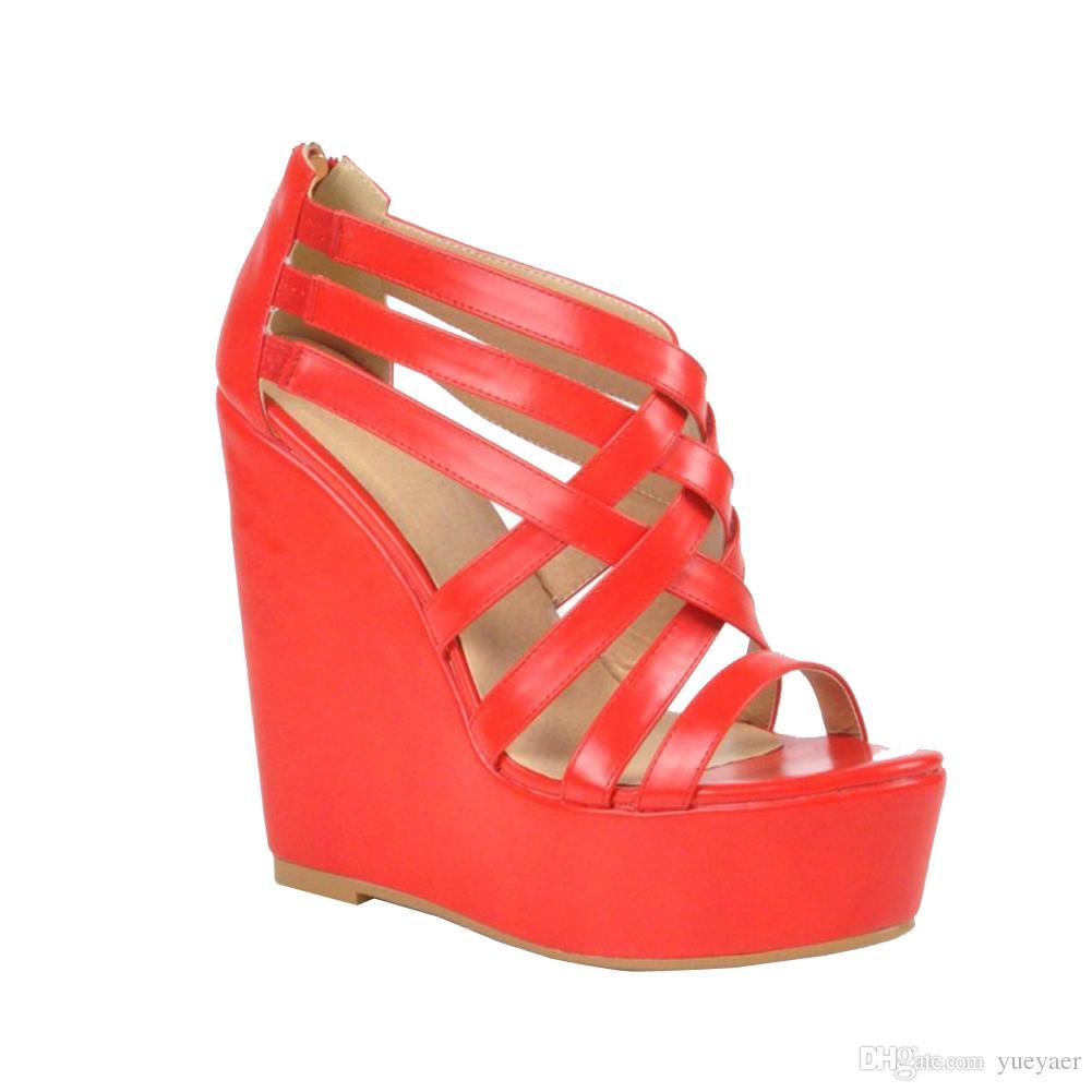 Zandina Womens 패션 핸드 메이드 15cm Wadge High Heel Crosscriss Party Prom 샌들 여름 신발 Reds XD155