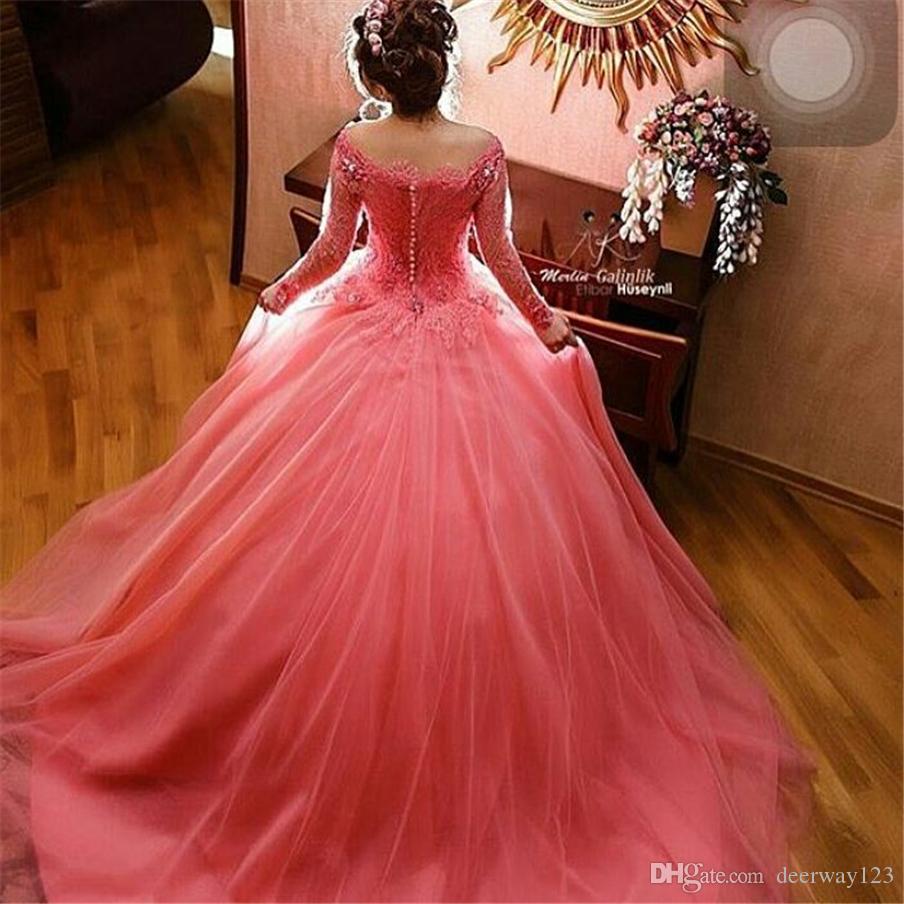 Elegant Off The Shoulder Hot Pink Wedding Dress With Color Long Sleeve Lace Appliques Vintage Bride Dresses Beading Vestido De Noiva Ball Gowns For Wedding Ball Gown Dresses Wedding From Deerway123 131 21