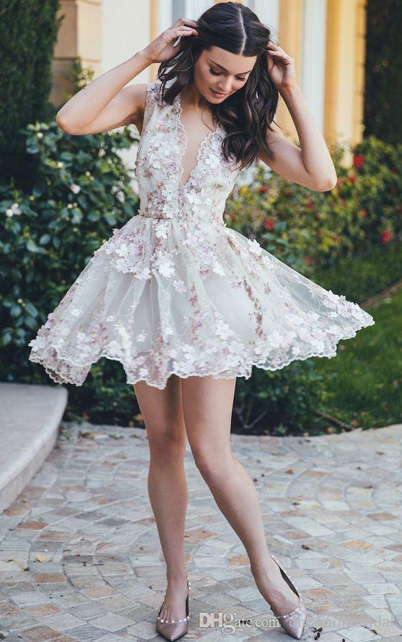 Compre Vestidos Cortos Del Baile De Fin De Curso De La Flor Atractiva 2017 Vestidos Hermosos Del Regreso Al Cuello Sin Mangas Hermosos Sin Mangas De