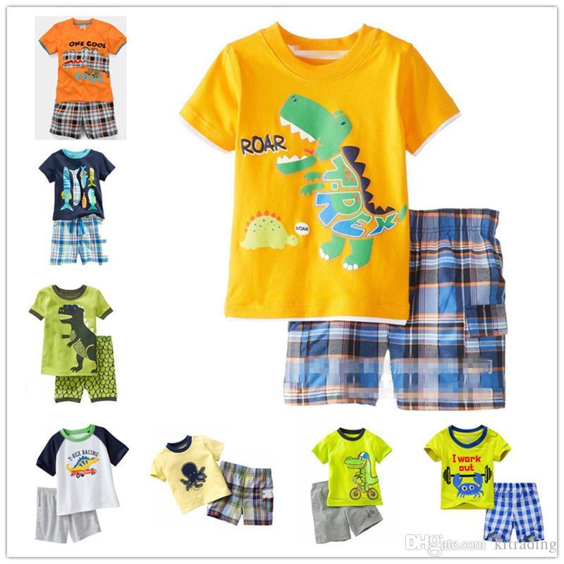 Kinder cartoon tiere pyjamas 2 stück set druck kurzarm top + plaids kurze hosen jungen mädchen dinosaurier fisch krabben octopus muster sommer tuch