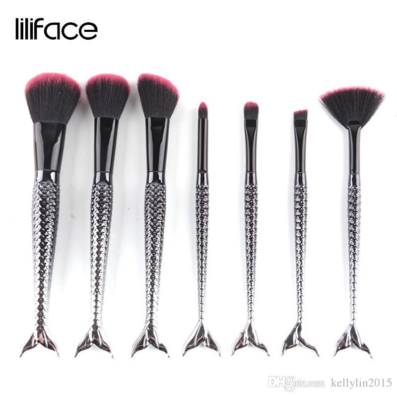 Black 7pcs Mermaid Makeup Brushes Set Foundation Blush Lip Eye Shadow Fan Brush Cosmetic Beauty Make Up Brushes Tools