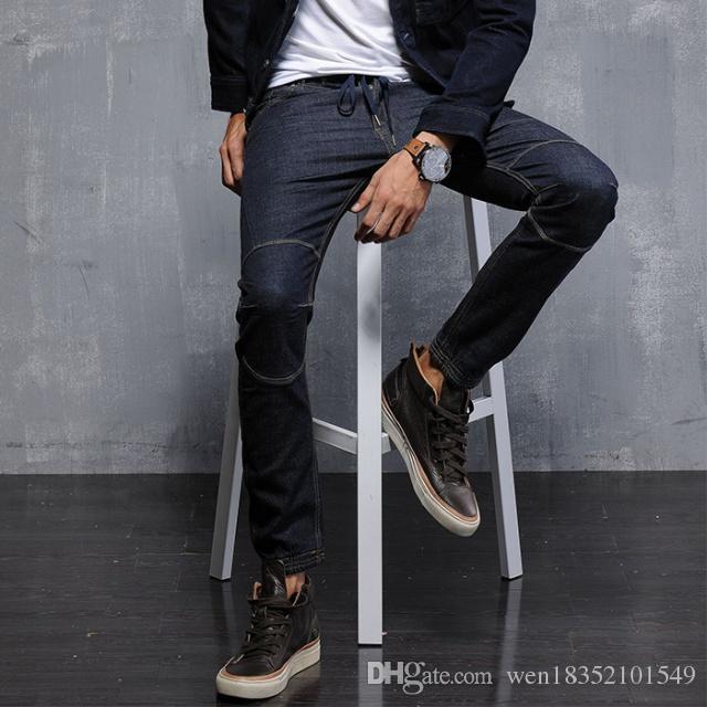 2018 nuova fabbrica di abbigliamento uomo vendita diretta jeans mall s maschio casual in cotone stretch jeans cuciture a piedi