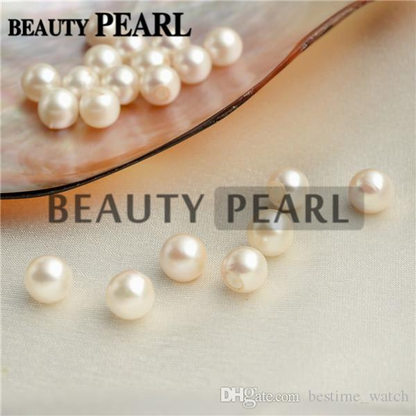 Wholesale 30 Pieces Round White Pearls Half-drilled Loose Beads Seawater Pearl Bead Raw Pearls 7-8mm for DIY