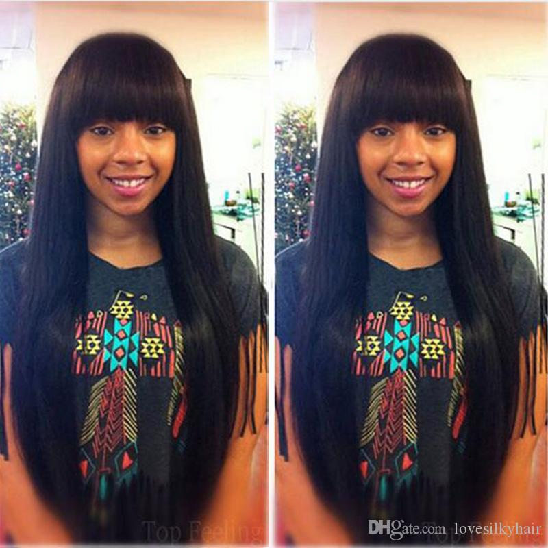 Peluca llena recta recta de calidad superior de la simulación del pelo humano pelucas rectas sedosas para las mujeres negras en la acción envío libre