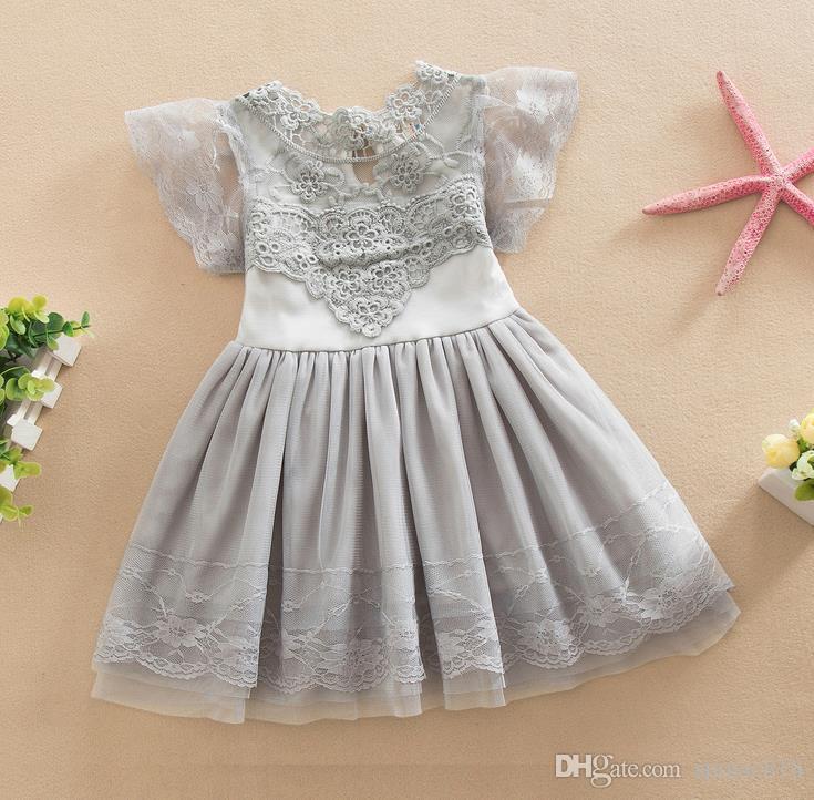 Nueva Summer Girls Childrens Tutu Vestido de encaje de algodón Vestido de fiesta Fiesta Princesa Vestidos Blanco Rosa Gris 1444