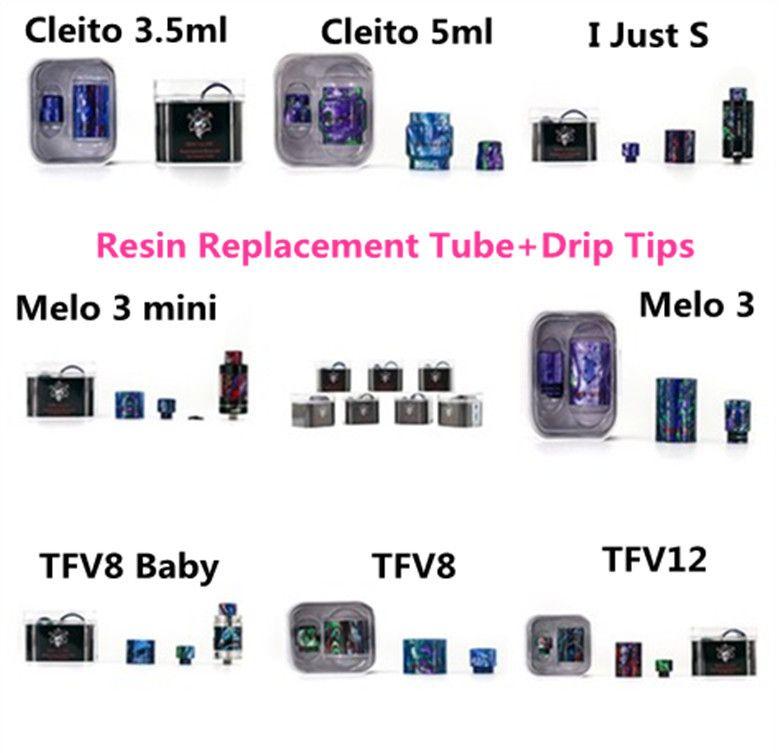 Authentic TFV12 Replacement Tube Drip Tips 악마 킬러 TFV12 용 에폭시 수지 TFV8 TFV8baby Ijust S Melo 3 Cleito 수지 튜브 드립 팁