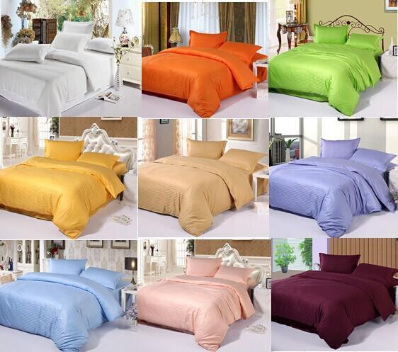 Wholesale- classic cotton satin stripe plain solid white blue gold beige hotel linen bedding set duvet cover set bedclothes bed sheet set