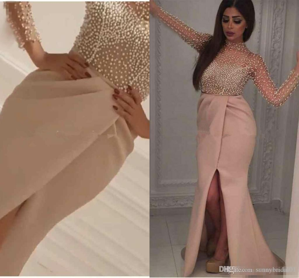 yousef aljasmi New Arrival Pearls Corset Sexy Evening Dress 2017 Front Split Tulle Long Sleeves Formal Gowns High Neck prom Party Dresses