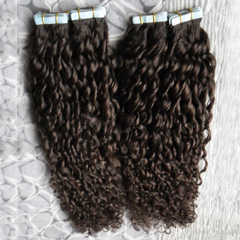 Бразильский кудрявый вьющиеся HairTape в человеческих волос 80 шт. / компл. клей невидимая Лента PU кожи утка 200 г