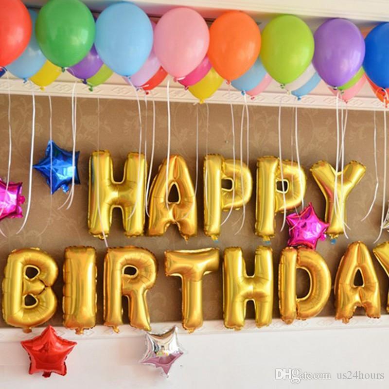 13 pçs / lote Feliz Aniversário balões de Decoração Do Partido Letras de Alumínio Balão de Balão De Folha De Balão Do Bebê crianças balões de ar de Fábrica Por Atacado
